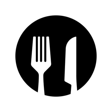 restaurant icon vector black and white color
