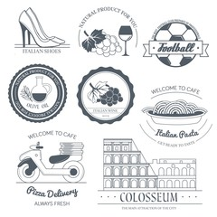 Italy country set label. Template of emblem element for your product or design, web and mobile applications with text. Vector illustration with thin lines isolated icons on stamp