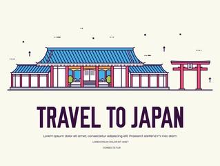 Japanese flat architecture. Japan design background concept.