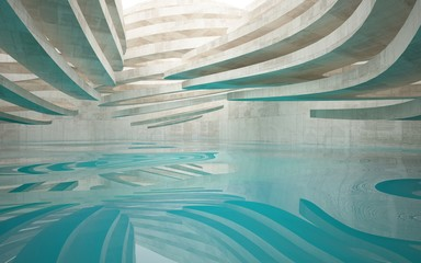 Abstract interior of glass and concrete with blue water. Architectural background. 3D illustration and rendering