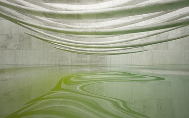 Empty dark abstract concrete smooth interior with green water . Architectural background. 3D illustration and rendering