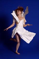 Woman in a paper dress