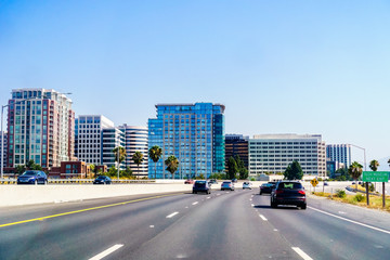 San Jose skyline as seen from the nearby freeway, Silicon Valley, California Wall mural