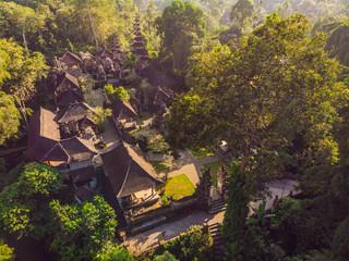 Aerial shot of the Pura Gunung Lebah temple in Ubud on the Bali island