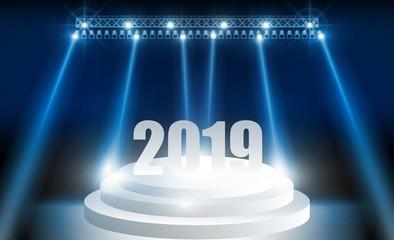 Bright stadium lights vector design.Happy new year 2019 blue color background.. vector illustration