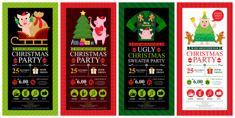 Christmas invitation template card sets