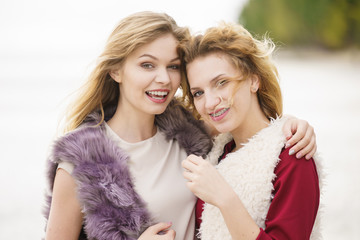 Two fashionable women outdoor