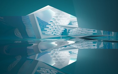 Abstract white interior of the future, with glossy blue water wall and floor. 3D illustration and rendering
