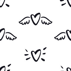 Hearts with wings Seamless Pattern Valentine day illustration