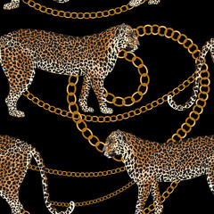 Leopard seamless pattern. Tiger skin print with gold chain. Animal background. Vector illustration