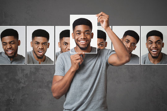 Concept of man choosing expression of face