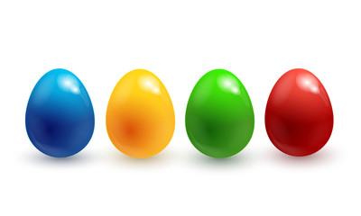 Collection of colorful glossy Easter eggs isolated on white