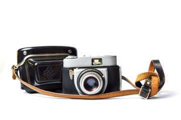 Old film camera isolated