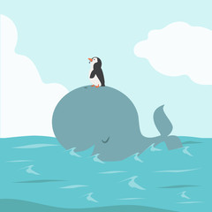Big Whale Fish with penguin in Sea