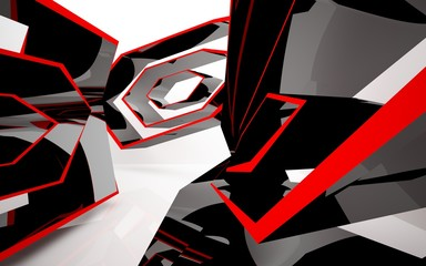 Abstract white interior of the future, with glossy black and red sculpture. 3D illustration and rendering