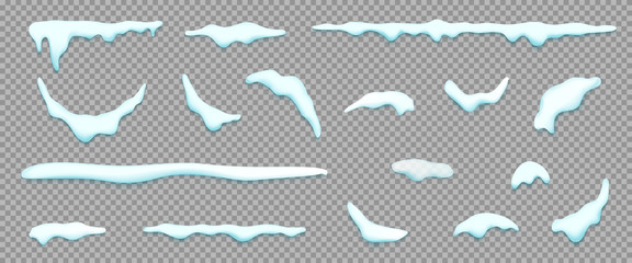 Set of isolated snow cap. Vector template with Snowy elements for your design. Realistic snowdrifts.