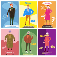 Set of winter sale cards with the characters of people, men and women of different ages in winter clothes, the trend of retro flet kartun style vector, illustration, isolated, banner, template