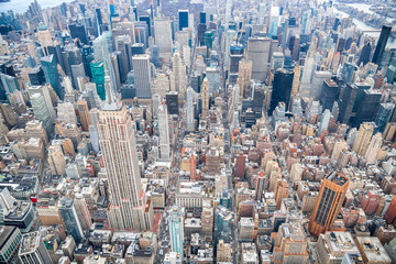 Fototapete - Helicopter view of Midtown Manhattan, New York City