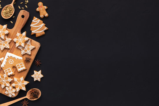 Christmas homemade gingerbread cookies, spices on cutting board
