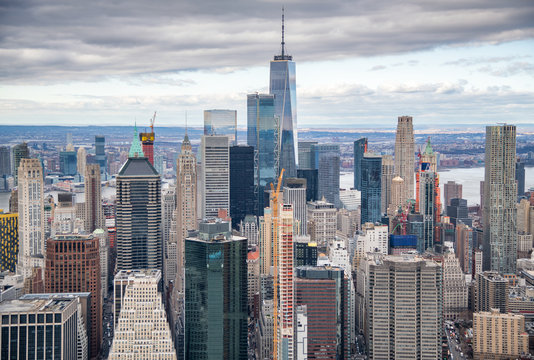 Helicopter view of Downtown Manhattan skyscrapers, New York City