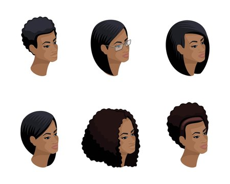 Isometric icons of the head of the African-American hairstyle, 3D faces, eyes, lips, female emotions. Qualitative isometry of people for vector illustrations