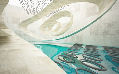 Empty dark abstract concrete smooth interior with blue water . Architectural background. 3D illustration and rendering