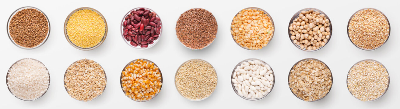 Collection of various grains in bowls isolated on white