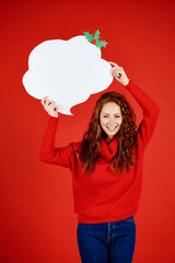 Portrait of smiling girl with speech bubble