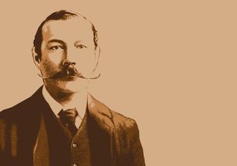 Portrait de Conan Doyle, célèbre écrivain écossais, créateur de Sherlock Holmes