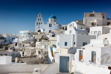 La pose en embrasure Santorini Classical Oia town with Orthodox Church; Santorini Island; Greece