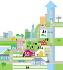 City Stadtplan, Leben in der Stadt, – Vektor Illustration