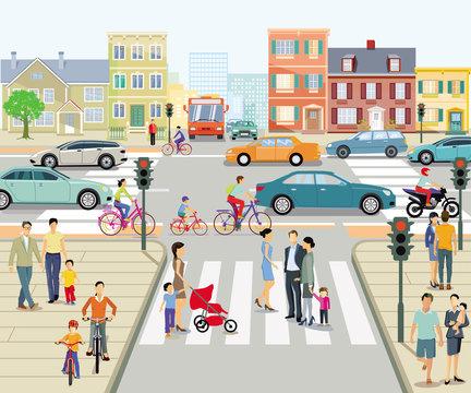 Stadt mit Fußgängerüberweg und Straßenkreuzung, Illustration