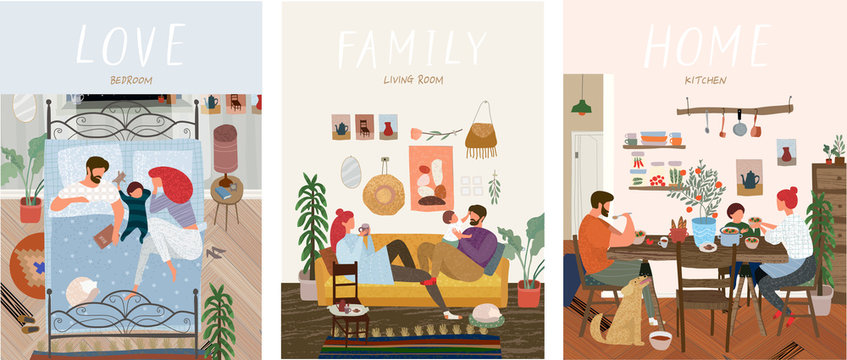 Set of cute vector illustrations of people in everyday life, happy family at home resting in the living room on the sofa, sleeping in the bedroom, eating in the kitchen