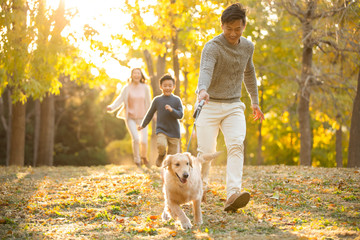 Happy young family playing in autumn woods