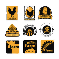 Set of vintage and modern farm logo labels with chicken, eggs and cows