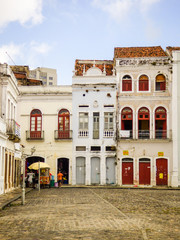 Recife, Brazil - Circa December 2018: Facade of old houses and shops in the historic center of Recife, capital of Pernambuco
