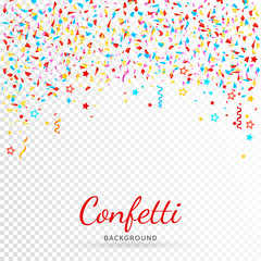 Bright colorful vector confetti background. All elements are on separate layers. Vector, illustration, eps 10