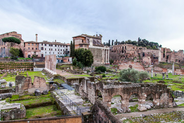 ROME, ITALY, on March 7, 2017. Ruins of antique constructions. Forum Romanum