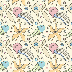 Seamless vector colorful background with hand drawn decorative childlike fish, jellyfish, octopus, starfish. Graphic illustration. Print for wrapping, wallpaper, background, surface, packaging