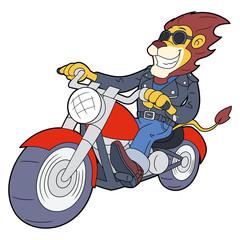 Lion riding motorbike at high speed 2