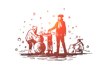 Family, togetherness, winter, Christmas happiness concept. Hand drawn sketch isolated illustration