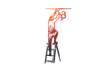 Lightning, installer, chandelier, electrician concept. Hand drawn isolated vector.
