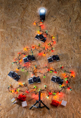 Cameras in the shape of a Christmas tree
