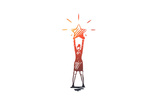 The best, rating, professional vector concept. Hand drawn sketch isolated illustration