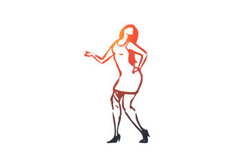 Dancing, woman, girl, active, party concept. Hand drawn isolated vector.