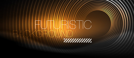Dark abstract background with glowing neon circles Fototapete