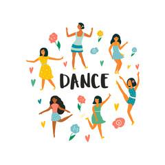 Set of young dancing girls. Vector illustration