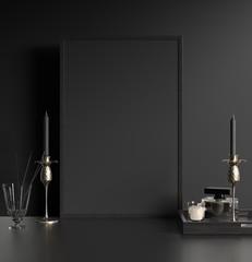 Modern dark interior with black picture frame, 3d render