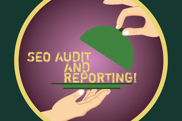Word writing text Seo Audit And Reporting. Business concept for Search Engine Optimization review feedback Hu analysis Hands Serving Tray Platter and Lifting the Lid inside Color Circle