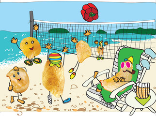 chips play beach volleyball